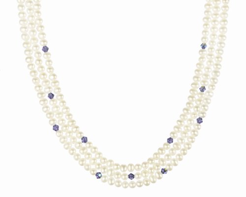 Amethyst Crystallized Swarovski Elements Bicone Bead and White Freshwater Cultured Pearl Necklace with Gold Plated Sterling Silver Clasp