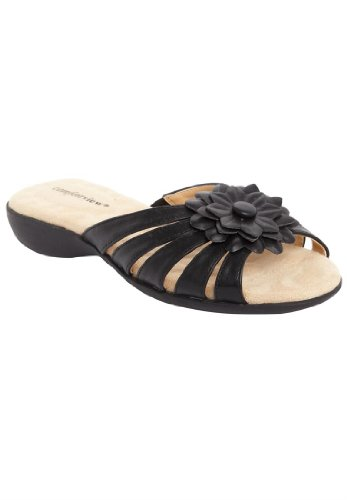 Comfortview Women'S Wide Abigail Flower Sandal Black,8 Ww
