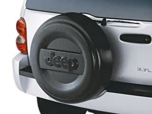 Mopar 82208448 OEM Jeep Liberty Hard Molded Spare Tire Cover - Smooth Silver with Black Logo