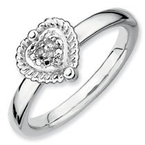 0.022ct True Love Silver Stackable Heart Diamond Ring. Sizes 5-10