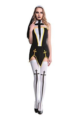 [GoLoveY Women's Sexy Black Bad Habit Nun Religious Halloween Costume 4pcs] (Bad Habit Nun Costumes)