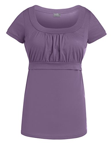 Milk Nursingwear Women'S Empire Scoop Neck Nursing Top-M-Lavender