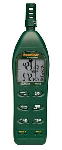 Extech RH350 Psychrometer with 2 Type K Remote Temperature Probes - 1
