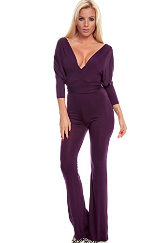Lolli Couture Reversible V-Shape Open Back Long Pant Jumpsuit M Purple front-839941
