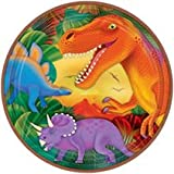 Dinosaur/Prehistoric metallic Party plates, pack of 8, 22.8cms