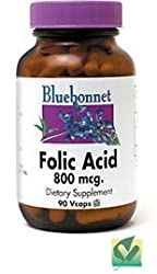Folic Acid 800mcg Bluebonnet 90 Caps