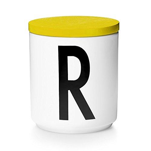 Design Letters Holzdeckel für Porzellantassen gelb