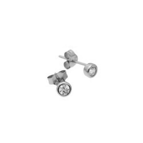 apop nyc Sterling Silver Mini Bezel CZ Stud Earrings 5mm