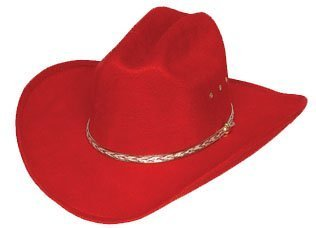 [Kids Red Faux Felt Cowboy Hat by Western Express] (Red Felt Cowboy Hat With Band)