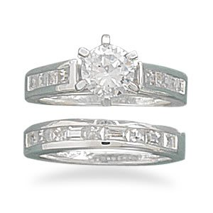 Sterling Silver Set of Two-6.5mm Round Cz With Baguettes Ring / Size 10