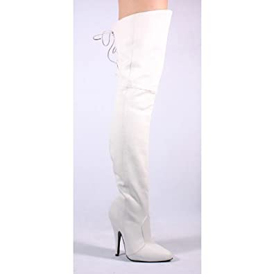 5 Inch Sexy Thigh Boot With Lace At The Rear White Leather High Heel Boot