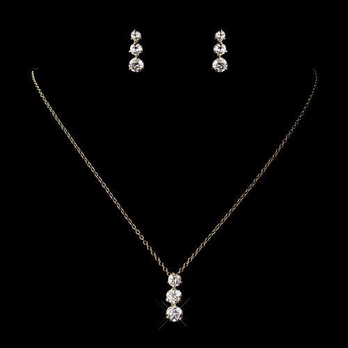 14K Gold Cubic Zirconia Three Stone Bridal Wedding Necklace Earring Set