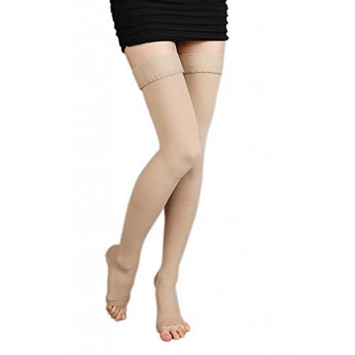 (ラボーグ)La Vogue 美脚 着圧オーバーニーソックス ハイソックス 靴下 医療用弾性ストッキング 静脈瘤 つま先なし着圧ソックス M 2級中圧 肌色