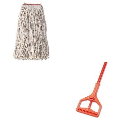 KITIMP94RCPF51812WHI - Value Kit - Rubbermaid Cotton/Synthetic Cut-End Blend Mop Head (RCPF51812WHI) and Janitor Style Screw Clamp Mop Handle, Fiberglass, 64quot;, Safety Orange (IMP94) kitlee40100quar4210 value kit survivor tyvek expansion mailer quar4210 and lee ultimate stamp dispenser lee40100