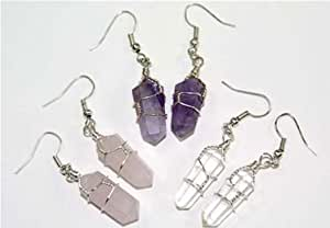 3 Pair Double Terminated Wire Wrapped Amethyst, Quartz and Rose Quartz Crystal Point Earrings
