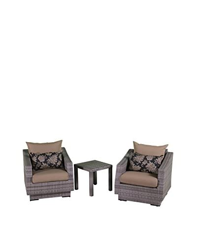 RST Brands Cannes Club Chairs and Side Table Set, Beige