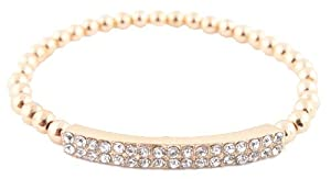Ladies Iced Out Metallic Gold Bar Style Beaded Stretch Bracelet