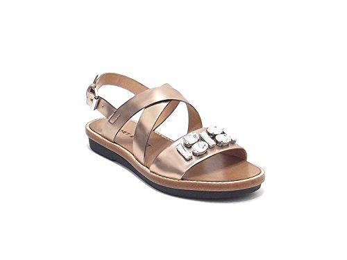 Janet & Janet donna, modello sandalo 3705, in pelle laminata, colore oro