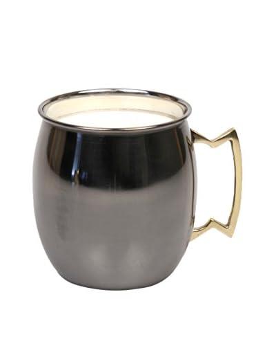 Jodhpuri 14-Oz. Leather Moscow Mule Mug Candle, Black/White