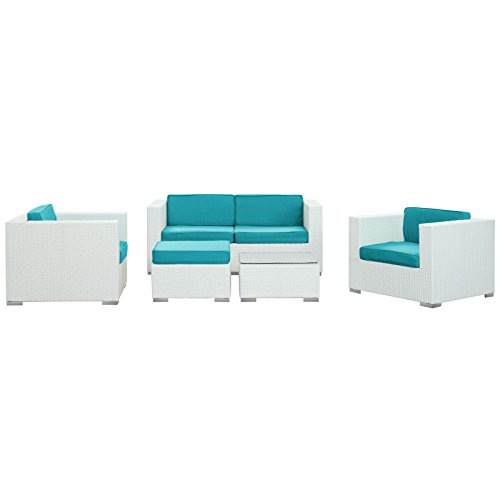 LexMod Malibu Outdoor Wicker Patio 5 Piece Sofa Set In White with Turquoise Cushions image