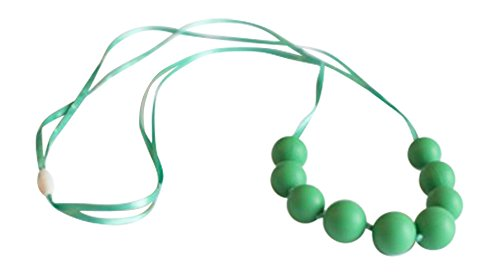 Little Teether Trendy Teething Necklace for Baby Nursing - Stylish Silicone Necklace for Moms, Teether for Babies. Provides Teething Pain Relief. Food-Grade Safe! Teething Remedy Approved by Mothers! - Green