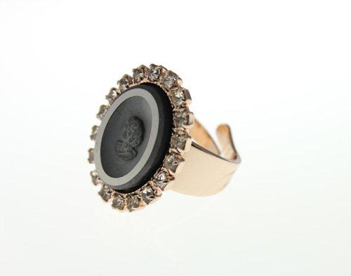 Israeli Amaro Jewelry Studio Cocktail Ring from 'Release' Collection Featuring an Oval Cameo Carved in Hematite with Swarovski Crystal Accents; Adjustable; 24K Rose Gold Plated
