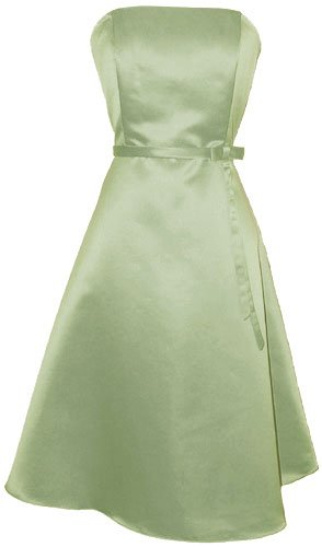 50's Strapless Satin Formal Bridesmaid Prom Dress