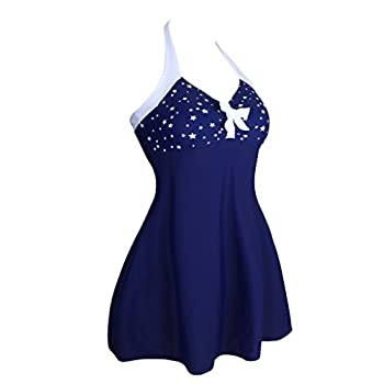 Dokotoo Womens Vintage Sailor Pin Up One Piece Skirtini Cover Up Swimdress (FBA)