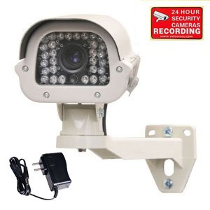 VideoSecu Built-in SONY Effio CCD 700TVL Zoom Infrared Security Camera Day Night Vision Outdoor Wide Dynamic Range WDR Surveillance Camera DSP 9-22mm Lens for CCTV DVR Home Surveillance System with Power Supply, Security Camera Bracket and bonus Warning Sticker WE4