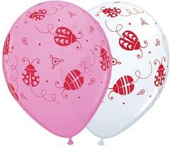 "Multi-pack Ladybug 11"" Latex Balloons - 6 White, 6 Pink - Pk Of 12"
