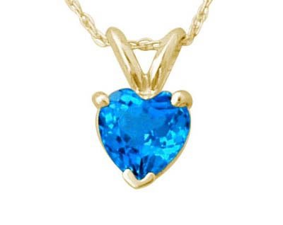 Heart Shape Blue Topaz Pendant in Yellow Gold