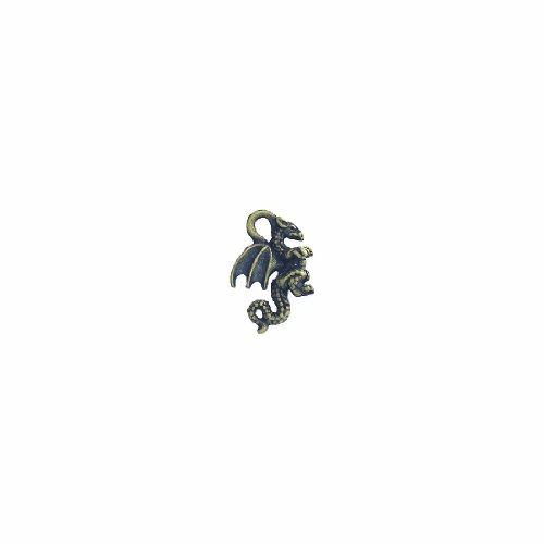 Shipwreck Beads Pewter Dragon Charm, Gold, 20mm, 4-Piece