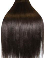 Double Wefted, 18 inch Double thickness DARK BROWN (Col 2). Full Head Clip in Human Hair Extensions. High quality Remy Hair!