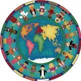 Joy Carpets Kid Essentials Early Childhood Round Hands Around The World Rug, Multicolored, 7'7""