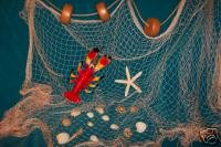 15 X 9 Fishing Net, Netting, Nautical Display, with Lobster, Starfish, Seashells, Rope and Floats