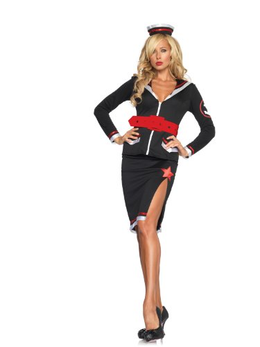Sultry Sailor,Zipper Front Top,High Slit Skirt,Belt