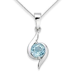 Miore 9ct Women's White Gold Blue Topaz Pendant Chain USP004P4W of 45cm