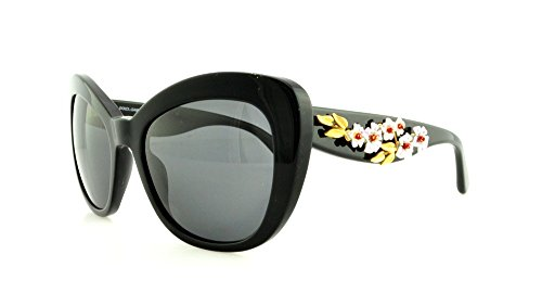 D&G Dolce & Gabbana Women'S Almond Flowers Square Sunglasses, Black & Gray, 54 Mm