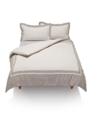 Pure Linen Contrast Border Duvet Cover