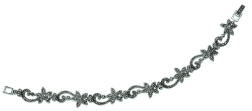 Elements Sterling Silver Ladies' B2356H Marcasite Flower  &  Scroll Bracelet
