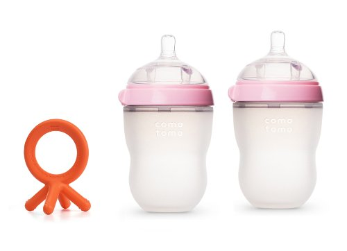 Comotomo Essential Set: Natural Feel TWIN pack 8 oz PINK Baby Bottles, PLUS Silicone Teether - 1