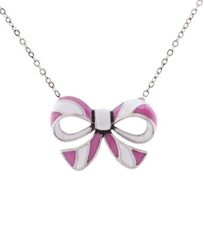 Cath Kidston Stripy Bow Pendant Necklace in Pink of 45 cm