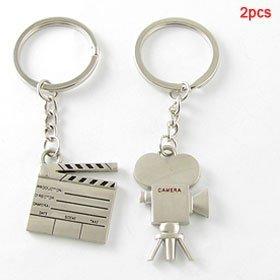 Liebhaber-Silber-Ton Film Clapper w-Videokamera-Anhänger Schlüsselanhänger Geschenk 2Stk