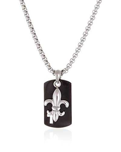 1913 Black Ion-Plated Dog Tag Necklace