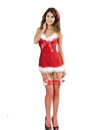 Christmas Santa Lingerie Stockings Babydoll Xmas Fancy ...