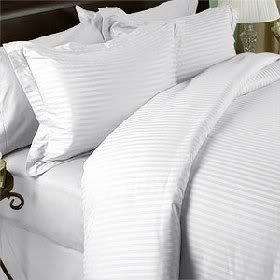 SEVEN (7) Piece QUEEN Size Set, WHITE Damask Stripe, 1500 Thread Count / 1500TC SATEEN WEAVE Long Staple 100-Percent Ultra Soft Egyptian Cotton. Set Packaged as 4pc BED SHEET SET & 3pc DUVET BED SET including Two (2) Shams & TWO (2) Pillow Cases