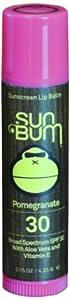 Sun Bum SPF 30 Lip Balm, Pomegranate, 0.15-Ounce