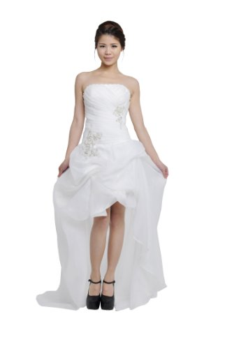Moonar White Chiffon Prom Party Gown Bridesmaid Wedding Dress