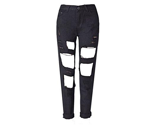 GA&GA Strappato denim jeans/pantaloni/mendicanti nove minuti di pantaloni , black , 28= domestic l (foreign m)