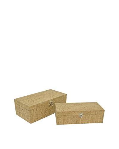 Three Hands Set of 2 Storage Boxes, Tan